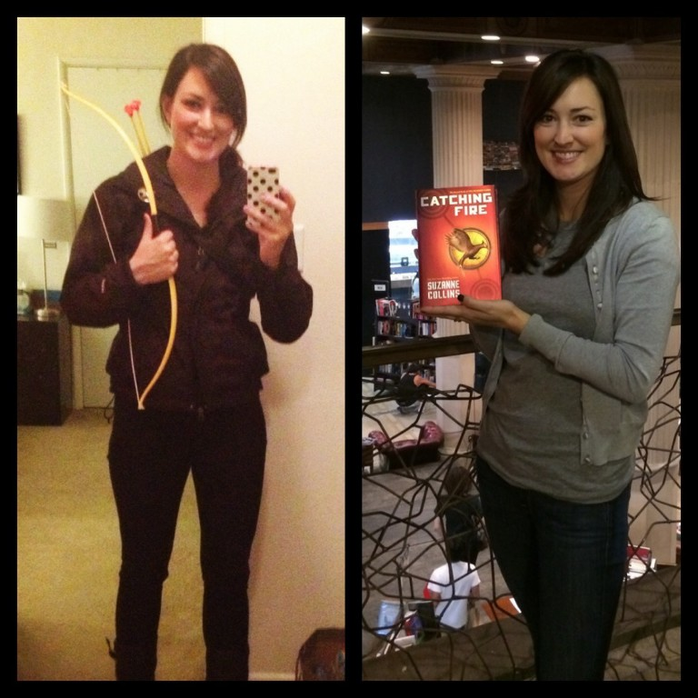 """If you couldn't already tell I was a """"Hunger Games"""" fan, I dressed up as Katniss for Halloween in 2012.  Plus for you readers out there, the picture on the right is from The Last Bookstore, a super cute bookshop in downtown Los Angeles."""